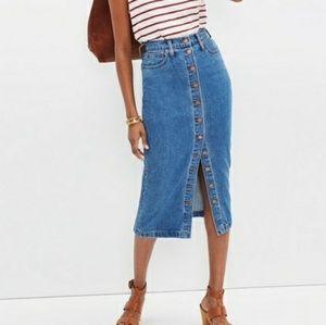 Madewell Midi Button Down Denim Skirt